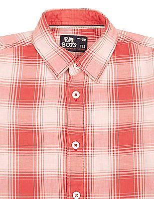 FM Boys Slim Fit Checked Shirt