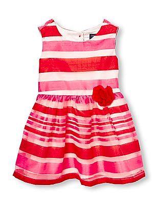 The Children's Place Baby Girls Red Sleeveless Stripe Dress