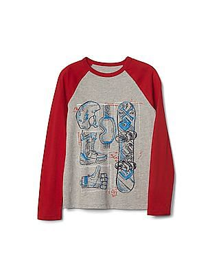 GAP Boys Grey Graphic Long Sleeve Baseball Tee