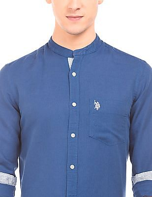 U.S. Polo Assn. Mandarin Collar Linen Cotton Shirt