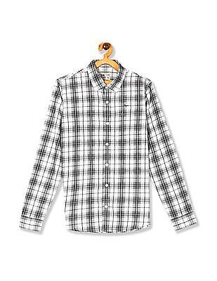 FM Boys White And Black Boys Button Down Collar Check Shirt