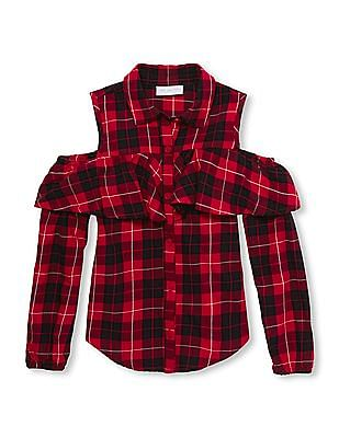 The Children's Place Girls Plaid Cold Shoulder Shirt