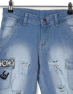 FM Boys Boys Slim Fit Distressed Shorts