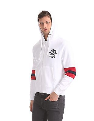U.S. Polo Assn. White Panelled Sleeve Hooded Sweatshirt