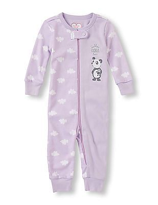 The Children's Place Baby Girls Purple Long Sleeve 'Daddy's Cuddle Bear' Split Cloud Print Full-Length Stretchie