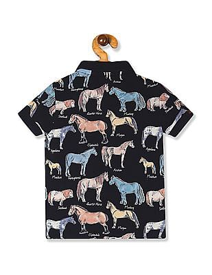 U.S. Polo Assn. Kids Blue Boys Animal Print Pique Polo Shirt