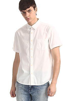 Aeropostale White Slim Fit Patch Pocket Shirt