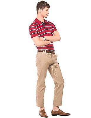 Arrow Sports Striped Cotton Pique Polo Shirt