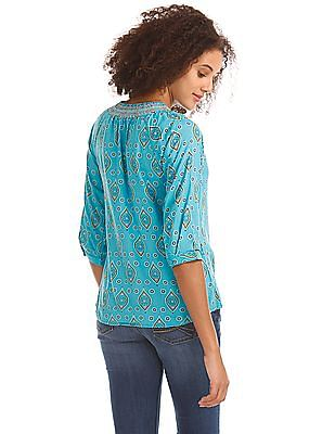 Bronz Smocked Neck Printed Top