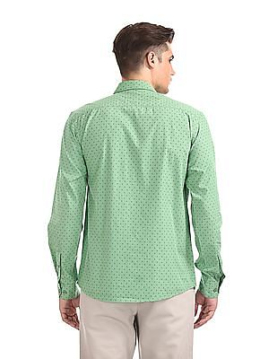 Ruggers Green Mitered Cuff Printed Shirt