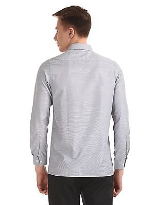 Excalibur Grey Mitered Cuff Patterned Shirt