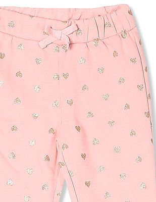 The Children's Place Toddler Girl Pink Active Glitter Print Knit Sweatpants