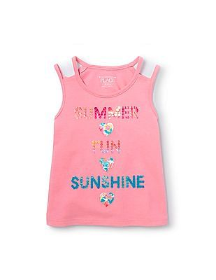 The Children's Place Toddler Girl Sleeveless Double Strap Embellished Graphic Top