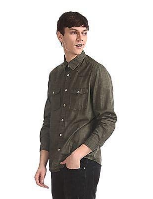 Cherokee Green Flap Pocket Slub Cotton Shirt