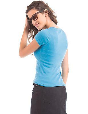Aeropostale Appliqued Front Henley T-Shirt