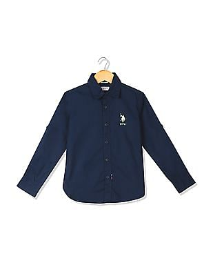 U.S. Polo Assn. Kids Boys Button-Down Collar Solid Shirt