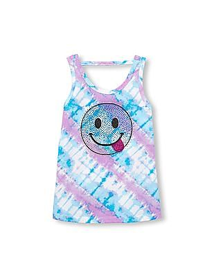 The Children's Place Girls Sleeveless Embellished Cutout Back Tie-Dye Graphic Tank Top