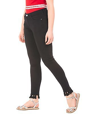 Flying Machine Women Tasselled Hem Skinny Jeans