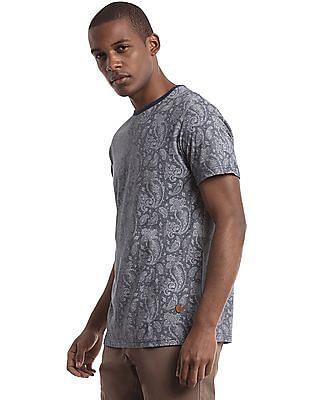 True Blue Paisley Print Slim Fit T-Shirt