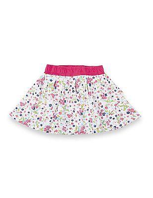 Cherokee Girls Floral Print Layered Skirt