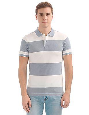 Gant 4-Col Oxford Stripe Short Sleeve Rugger Polo