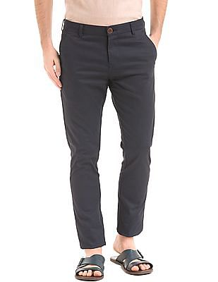 True Blue Tapered Fit Printed Trousers
