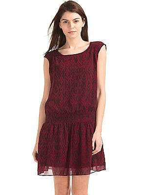GAP Women Red Smocked Cap Sleeve Dress