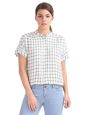 Cherokee Check Extended Sleeve Top