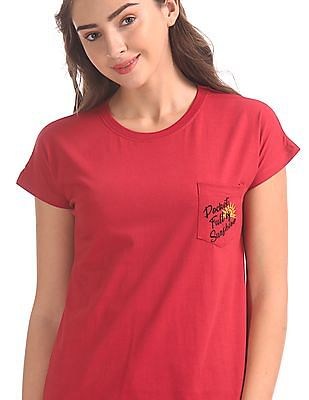 SUGR Red Crew Neck Patch Pocket T-Shirt
