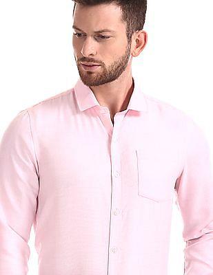 Excalibur Semi Cutaway Collar Patterned Weave Shirt - Pack Of 2
