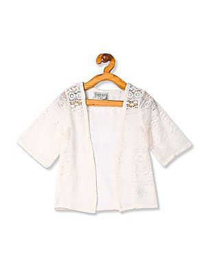 Cherokee Girls White Open Front Lace Shrug