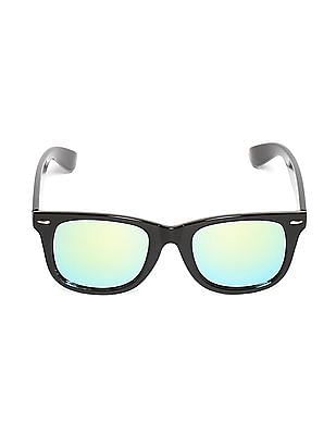 Flying Machine Black Square Frame Mirrored Sunglasses