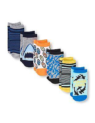 The Children's Place Toddler Boy 'Hashtag Shark Squad' Ankle Socks 6-Pack