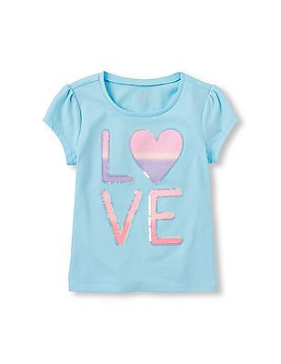 The Children's Place Girls Short Sleeve Statement Graphic Top
