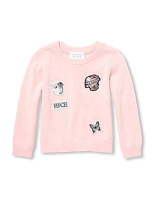 The Children's Place Baby Long Sleeve Patch Sweater