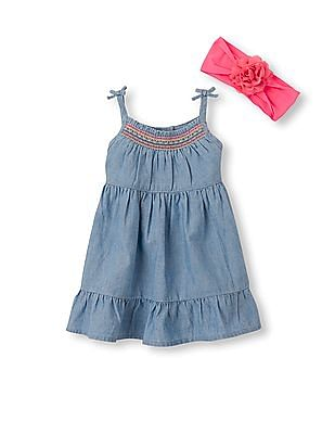 The Children's Place Baby Girls Blue Sleeveless Tied Strap Chambray Dress, 3D Flower Headwrap And Bloomers Set