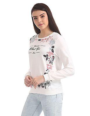 Cherokee Floral Print Crew Neck Sweatshirt