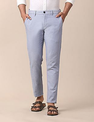 True Blue Slim Fit Patterned Trousers