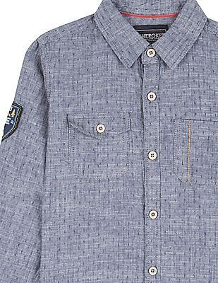 Cherokee Boys Patterned Weave Cotton Shirt