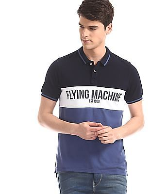 Flying Machine Blue Brand Print Panelled Polo Shirt
