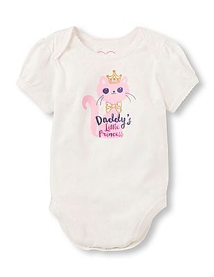 The Children's Place Baby Girls Short Sleeve 'Daddy's Little Princess' Cat With Crown Little Talker Bodysuit