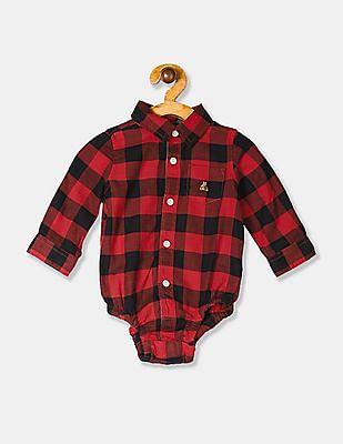 GAP Red Baby Brannan Bear Flannel Bodysuit