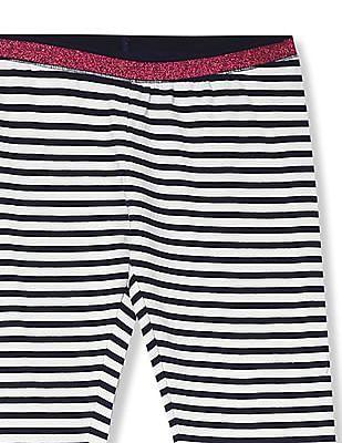 U.S. Polo Assn. Kids White Girls Striped Knit Track Pants