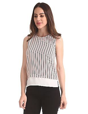 Elle Studio Sleeveless Striped Top
