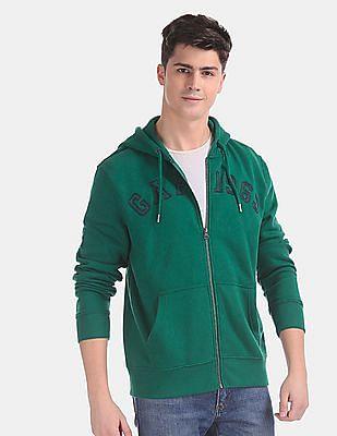 GAP Green Embroidered Logo Full Zip Hooded Sweatshirt