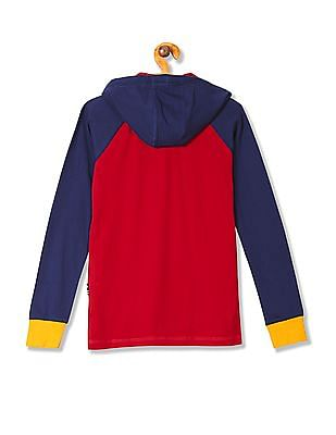 U.S. Polo Assn. Kids Boys Hooded Colour Block T-Shirt