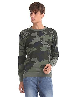 Aeropostale Regular Fit Camo Print Sweater