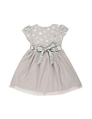 Cherokee Girls Star Print Tulle Fit And Flare Dress