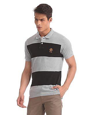 U.S. Polo Assn. Grey Striped Pique Polo Shirt