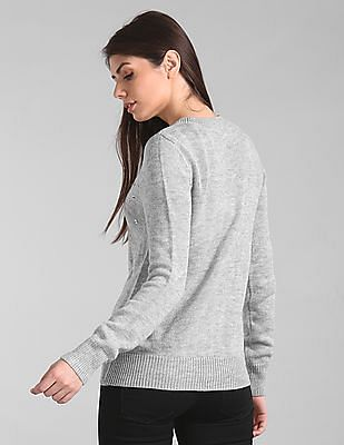 GAP Women Grey Embellished Long Sleeve Sweater